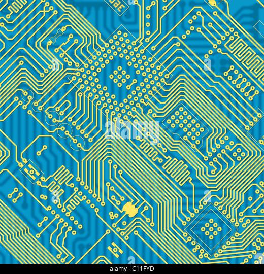Blaue industrielle Platine Textur gedruckt Stockbild