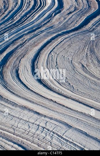 Abstrakte Gletscherlandschaft, Baffin Island, Kanada. Stockbild