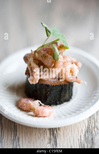 Einen grauen Garnelen Sushi Teller Stockbild
