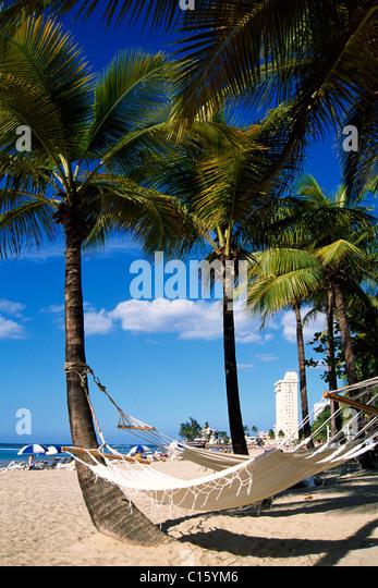 Hängematte am Strand von Isla Verda, San Juan, Puerto Rico, Karibik Stockbild