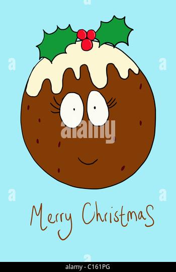 Christmas Pudding mit lächelnden Gesicht, Abbildung Stockbild