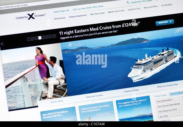 Website für Celebrity Cruise line Stockbild