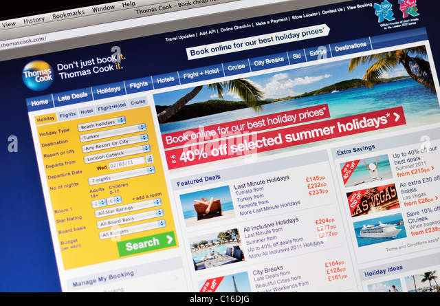 Thomas Cook Reise-website Stockbild