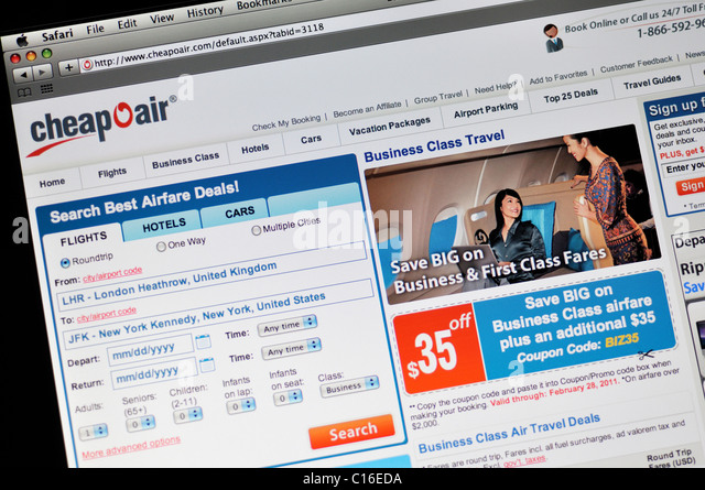 CheapOair Webseite - Billige Flüge und Angebote Stockbild