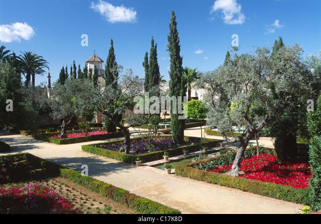 Gärten in Alcazar, Jerez De La Frontera, Andalusien, Spanien, Europa Stockbild