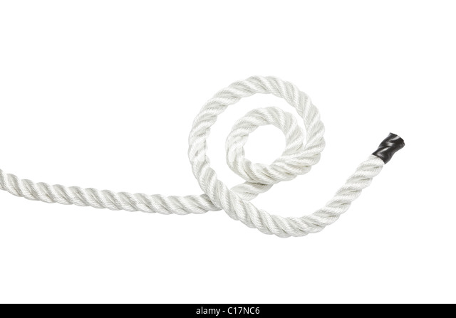 Starkes Seil isoliert auf weiss Stockbild