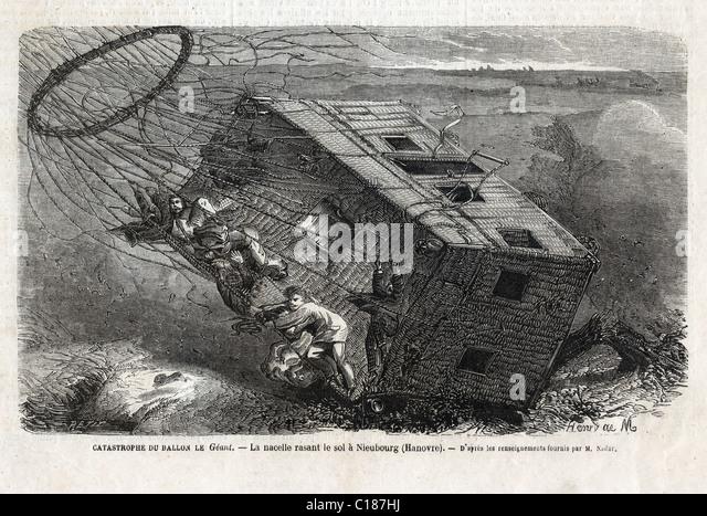 "Die Katastrophe des Ballons ""Le Géant"" auf ""Nieubourg"" in der Nähe von 1863. Stockbild"