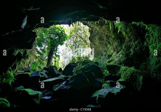 Kaumana Lava Höhlen, Hilo, Big Island, Hawaii, Hawaii, USA Stockbild