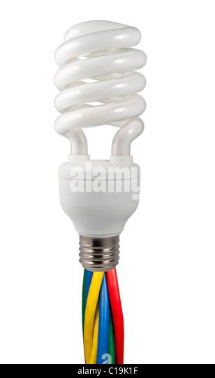 Farbige Kabel, eine Leuchtstoff Glühlampe isoliert auf weißem Hintergrund Stockbild