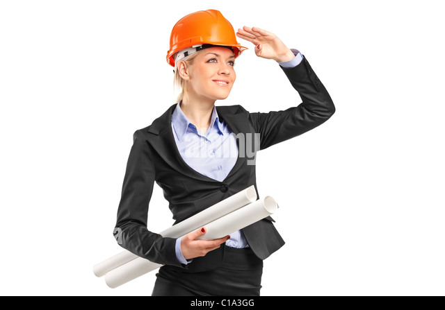 Ein weiblicher Bauarbeiter Helm trägt und hält Blaupausen Stockbild