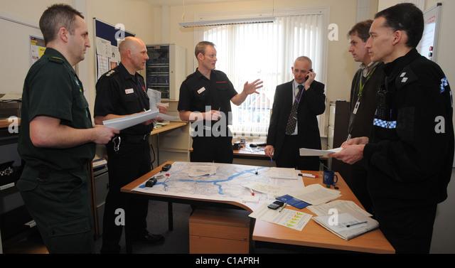 Die Steuerzentrale für die Sussex Notdienste Teilnahme an Betrieb Wasserzeichen eine simulierten Flutkatastrophe Stockbild