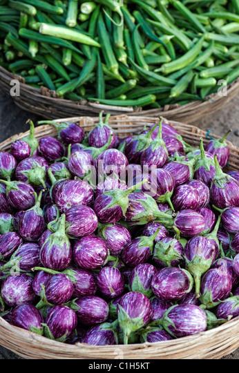 Indisches Gemüse. Auberginen / Aubergine oder Aubergine in einem Korb auf einem indischen Markt. Andhra Pradesh, Stockbild