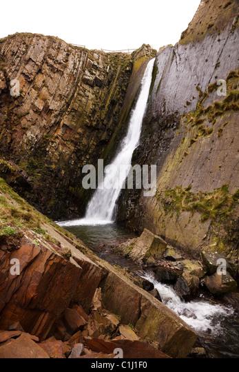 Wasserfall an Spekes Mühle Mündung, in der Nähe von Hartland Quay, Devon. Stockbild
