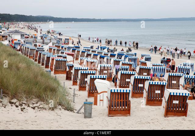 Strand in Binz an der Ostsee;  Strand in Binz Stockbild