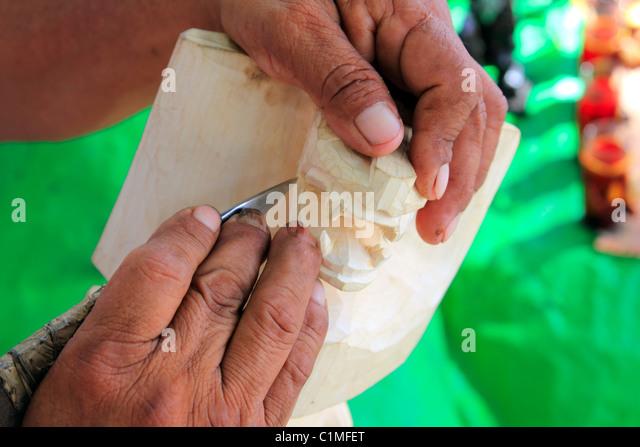 Jaguar Maya Bildhauer Handwerk Messer Hände Chichen Itza Mexico Stockbild