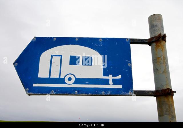 Republik von Irland, Fanad Halbinsel Rosses Point, Wohnwagen Zeichen Stockbild
