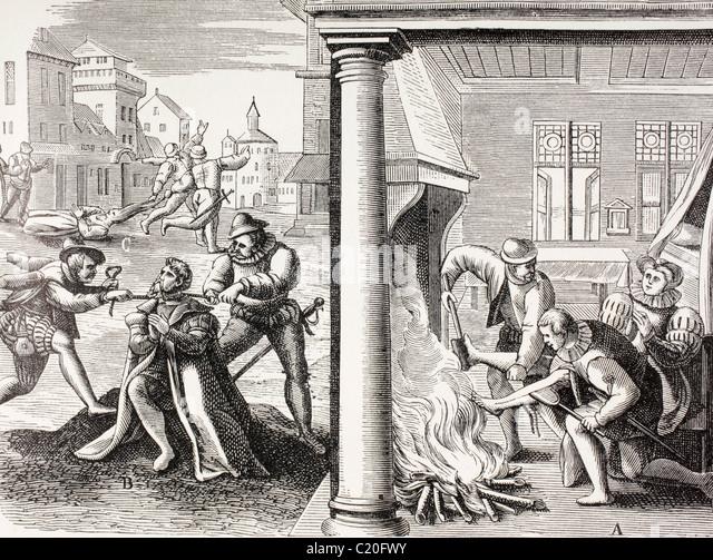 16. Jahrhundert Propaganda zur Veranschaulichung Gewalt der französischen Hugenotten gegen die Katholiken. Stockbild