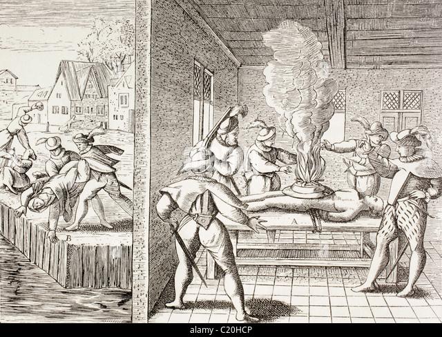 16. Jahrhundert Propaganda zur Veranschaulichung Gewalt des Gueux gegen die Katholiken. Stockbild