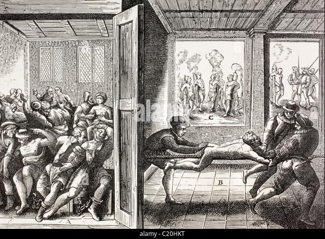 16. Jahrhundert Propaganda zur Veranschaulichung Gewalt der französischen Hugenotten gegen die Katholiken im Stockbild