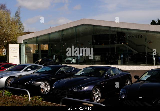 Lancaster Aston Martin Auto Autohaus, Harston, Cambridgeshire, England, Vereinigtes Königreich Stockbild
