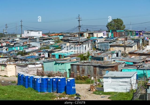 Öffentliche Toiletten in Khayelitsha Township in Kapstadt Südafrika Stockbild