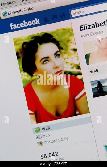 Elizabeth Liz Taylor Facebook Online-fanclub Stockbild
