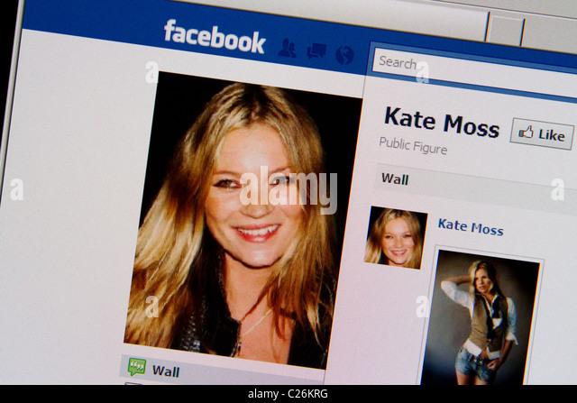 Kate Moss-Facebook-fanpage Stockbild