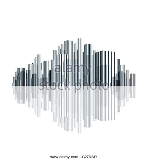 3D Darstellung von Gebäuden Stockbild