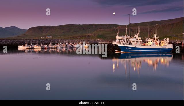 Sonnenuntergang, Ólafsvík Hafen, Snaefellsnes Halbinsel, Island Stockbild
