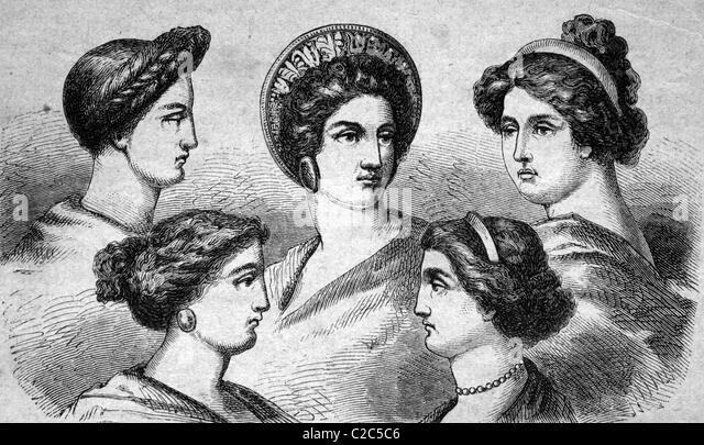Griechische Frisuren, historische Abbildung, ca. 1886 Stockbild