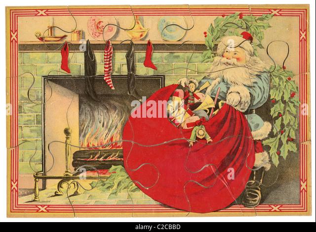 Ca. 1890 s Weihnachtsmann puzzle von Milton Bradley. Stockbild
