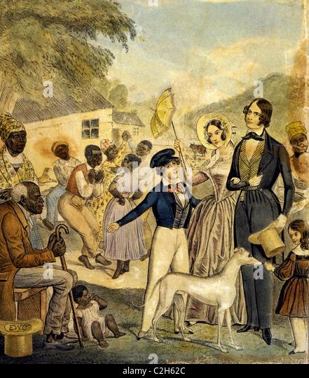 Eine idealisierte Darstellung der amerikanischen Sklaverei und die Bedingungen der schwarzen unter diesem System Stockbild