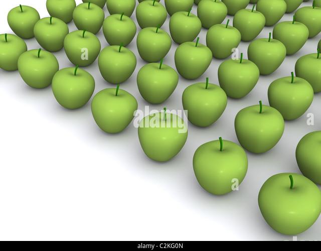 Fülle von Äpfeln. 3D Essen Stockbild