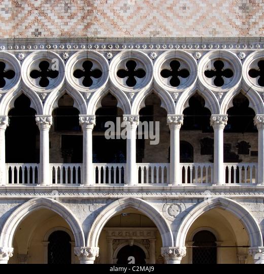 Dogenpalast (Palazzo Ducale), Venedig - architektonische Details Stockbild