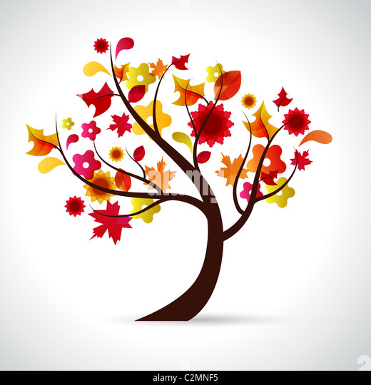 abstrakte Darstellung eines Baumes Hintergrund für die Saison Herbst Stockbild