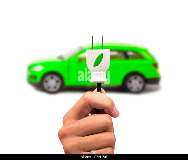 Elektroautos mit Ökoenergie Stockbild