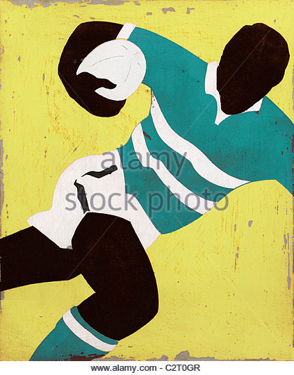 Rugby-Spieler mit ball Stockbild