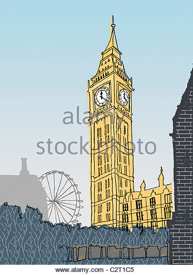 Houses of Parliament, Big Ben und London Eye Stockbild