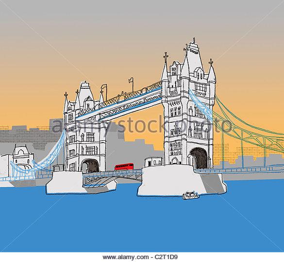 Bus fahren Sie über die Tower Bridge Stockbild