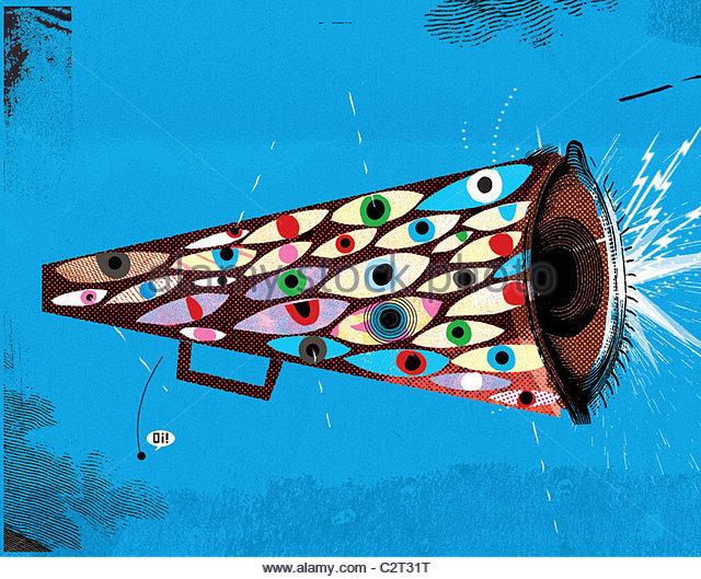 Auge Dekorationen auf Megaphon Stockbild