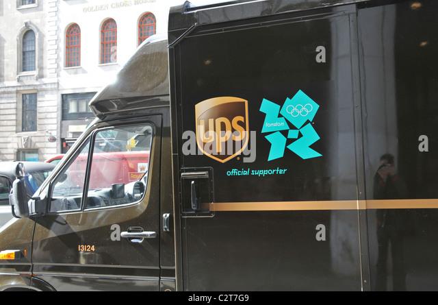 UPS Olympische Spiele London 2012 offizieller Sponsor Sicherheit van Stockbild