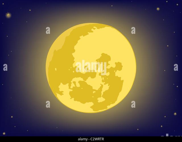 Mond am Nachthimmel. Vektor-Hintergründe Stockbild