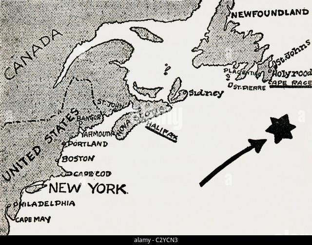 Karte der ungefähre Standort der Titanic-Katastrophe. Stockbild