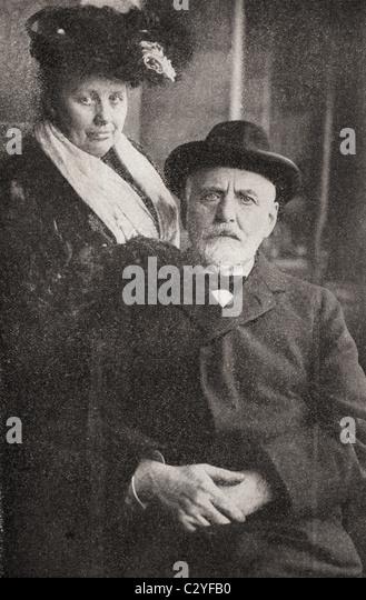 William T Stead, 1849-1912. Britischer Journalist, Verleger und sozialen Crusader. Hier mit seiner Frau gesehen. Stockbild