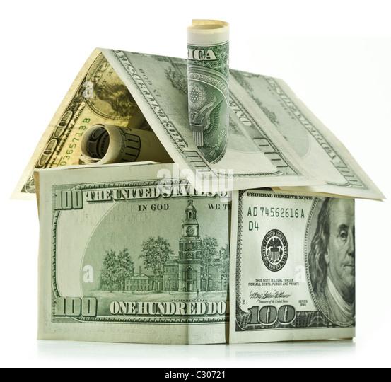 Dollar-Haus isoliert auf weiß. Stockbild