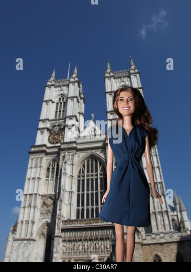 Kate Middleton, Prinzessin Catherine, Herzogin von Cambridge, Puppe außerhalb Westmister Abbey. Stockbild