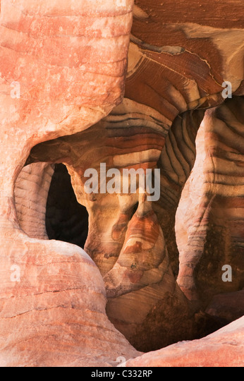 Sandstein-Muster, Petra, Nabataean steinerne Stadt, Jordanien Weltkulturerbe Stockbild