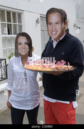 Königliche Hochzeit-Street Party. Chelsea London. Prinz William und Prinzessin Catherine Kate Middleton Souvenir Stockbild