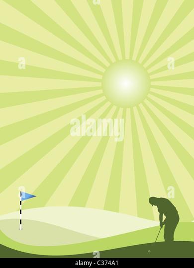 Golfer-Silhouette in eine hügelige Landschaft mit Sunburst Himmel grün Stockbild