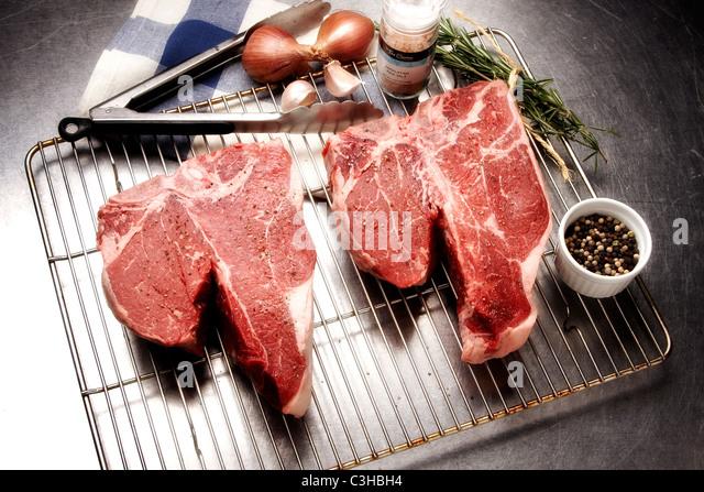 Rohe Steaks Stockbild